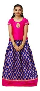 77f3c5622c854 Image is loading Girls-Pattu-Pavadai-Sattai-Traditional-South-Indian -Srilankan-