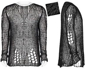 Long Punkrave Punk Man Rock Mohair Gothic Strappato Destroy Moda Sweater ppBfHrqw