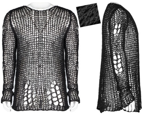 Mohair Punk Gothic Punkrave Strappato Long Rock Man Destroy Sweater Moda fOFwgq