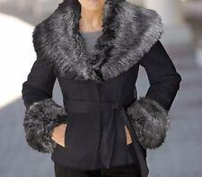 Misses Women's Winter Fall warm Black Faux Suede fur short  jacket coat plus 1X