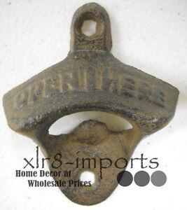 Verzamelingen Rustic Cast Iron OPEN HERE Wall Mounted Bottle Opener Soda Western VINTAGE STYLE Kurkentrekkers, flesopeners