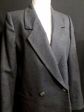 CHRISTIAN DIOR Designer Couture Gray Worsted Wool Blazer Double Breasted 8 Med