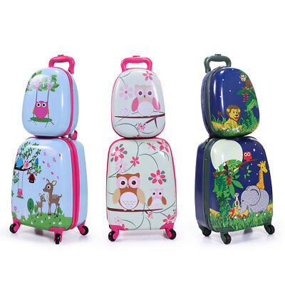 03366a1bdc99 2Pc Carry On Luggage With Wheels Kids Rolling Suitcase Backpack Cute Travel  Set | eBay