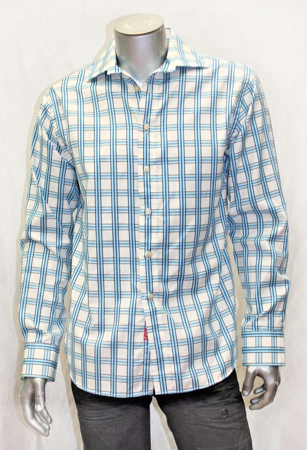 Men's Rufus Lt.bluee   White Plaid Button Down Shirt