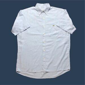 Vintage-pour-homme-LACOSTE-shirt-XL-bleu-a-manches-courtes-en-coton