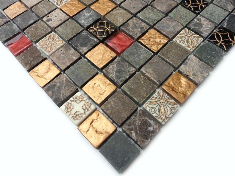 Mosaik Matte Salerno 30x30cm (1 Karton=11 Matten=0,99qm) Glas Naturstein Keramik