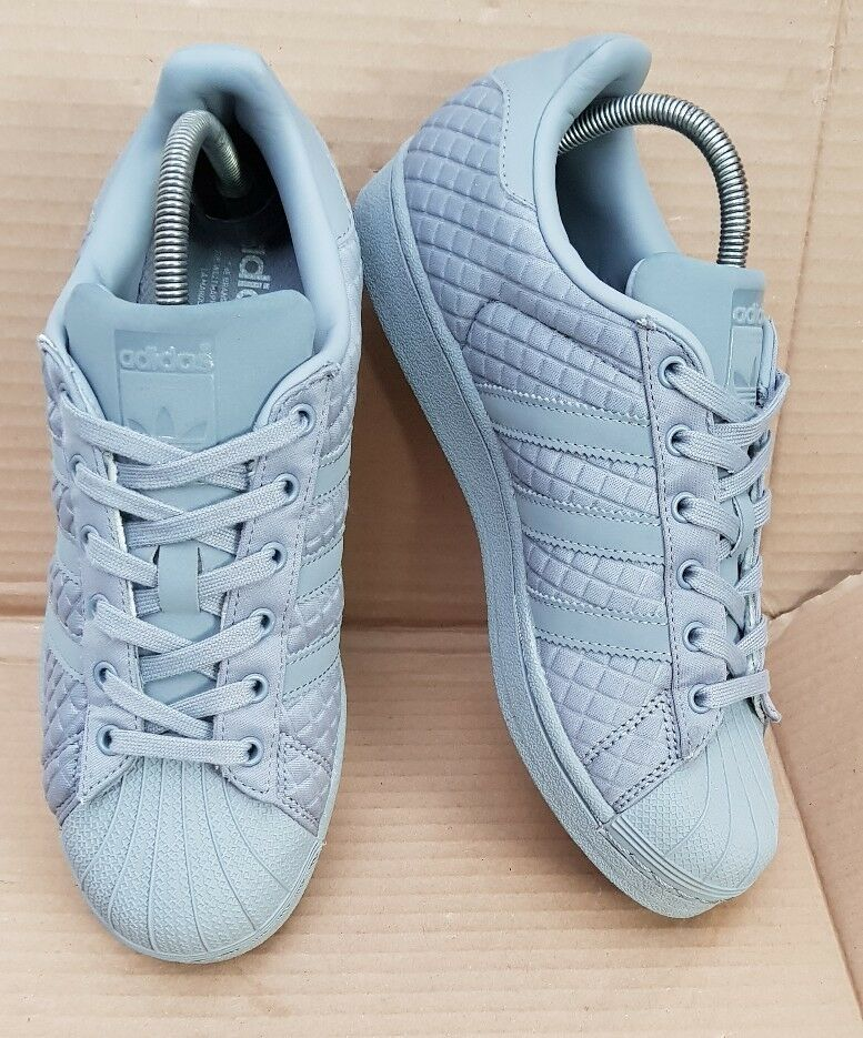 ADIDAS SUPERSTAR SHELL TOE TRAINERS gris QUILTED SIZE 6EXCELLENT CONDITION