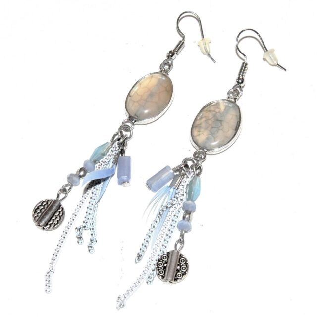 Earrings Silver Plated Pampilles Chain