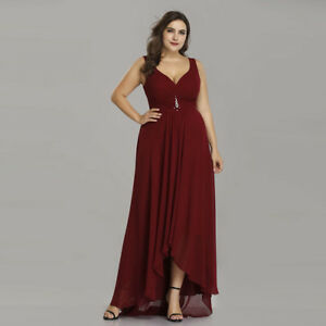 8659638758 Plus Size Women High-low Burgundy Long Evening Dress Cocktail Ball ...