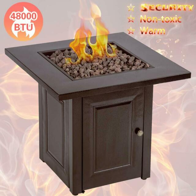 Outdoor 65 000 Btu Black Metal Propane Gas Fire Table Patio Pit Fireplace Lp For Sale Online Ebay