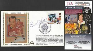 Gordie Howe JSA Signed NHL 75 Canada FDI Gateway Stamp Cachet Envelope Postmark