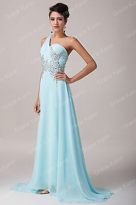 Beaded GRAD Bridesmaid Chiffon Gown Bridesmaid Long Prom Party Dresses PLUS SIZE