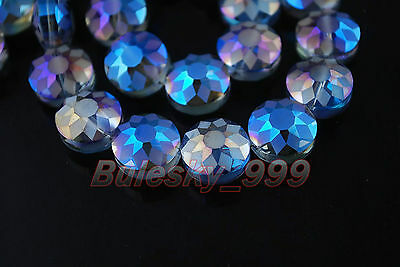 10 New Polish Style Charms Carve Crystal Flying Saucer Spacer Findng Beads 14mm