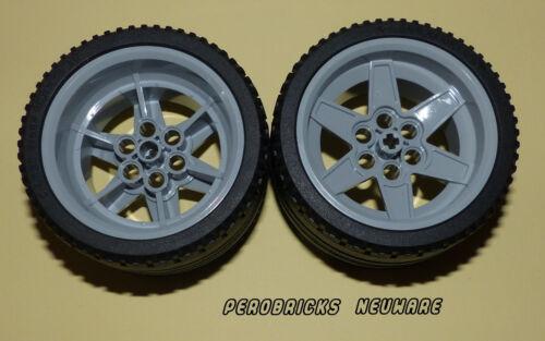 Lego Technic Technik 2 Räder Rad Reifen 68,8 x 36ZR hellgraue Felgen NEUWARE