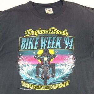 Vtg-90s-Daytona-Bike-Week-T-Shirt-XL-Faded-Black-Single-Stitch-USA-Biker-Beach