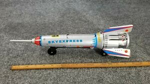 VINTAGE-TIN-LITHO-TOY-ROCKET-SKY-EXPRESS-RETRO-MADE-IN-CHINA-Mechanical