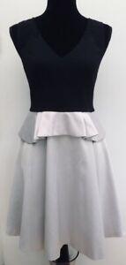 RRP-160-Karen-Millen-Black-Silver-Ivory-Fit-amp-Flare-Party-Peplum-Dress-12-14