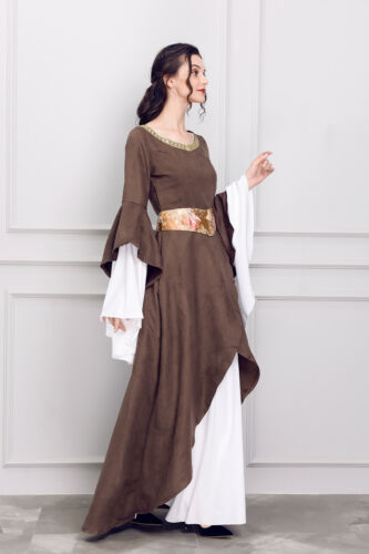 Women Medieval Renaissance Bell Sleeve Celtic Gown Maxi Dress Cosplay Costume