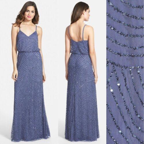 NWT SZ: 2 4 14 16 #M190 Adrianna Papell Embellished Blouson Gown Dark Heather