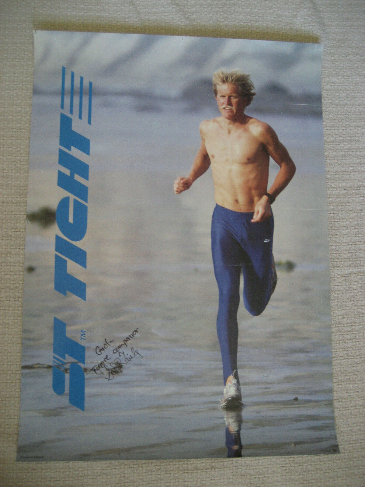 S.T. TIGHT Futove Competition Race Signed by Scott Tinley TRIATHLON POSTER VTG