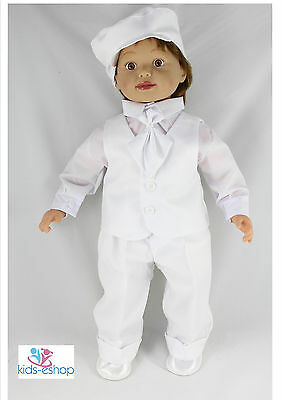 2019 New Style Baby Boy Outfit Smart Suit Bow Hat Waistcoat Wedding Christening White 0-18m Drip-Dry