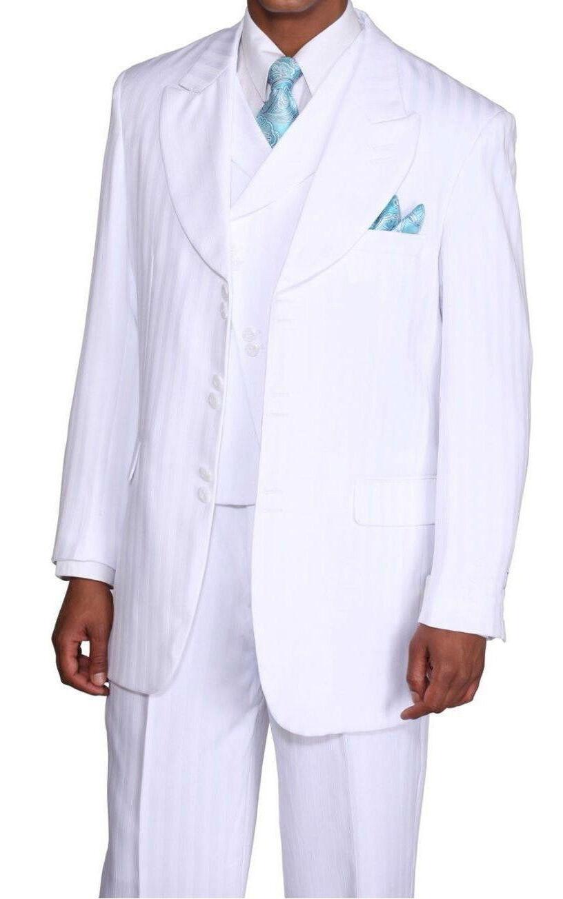Men's Fancy Tone On Tone Striped Suit w  Vest White 38R - 56L