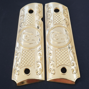 Fits-Colt-Firearms-Full-Size-1911-Grips-gold-plated