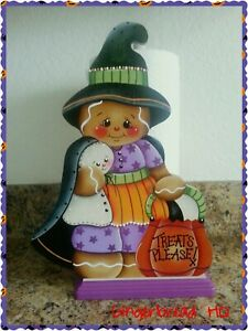 Details About Hand Painted Gingerbread Paper Towel Holder Ginger Decor Purple