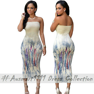 Casual Summer Party Wear Strapless Midi Dress Stretch Bodycon Floral Print