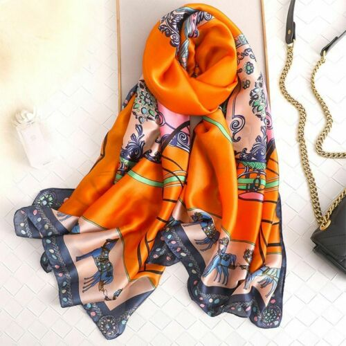 New Fashion Women Silk Scarf Flower Print Scarf Beach Scarves Silk Wrap 180*90cm