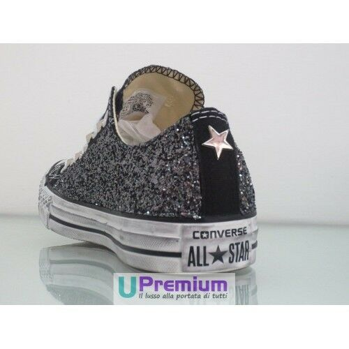 Converse All Star Handmade Glitter Basse Nere Argento Zapatos Borchiate Handmade Star Borchie U 8ea959