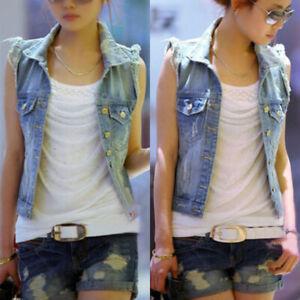 FashionMille Women Miss Button Up Sleeveless Distressed Jean Denim Vest Jacket