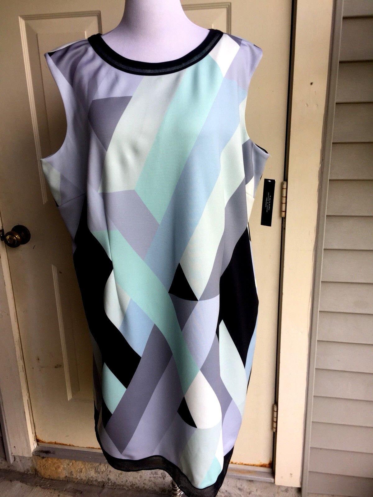 NWT  Tahari multi-Farbe polyester sleeveless dress Größe 20 W