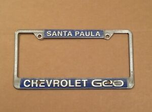 Santa Paula Chevy >> Details About Vintage Santa Paula Ca Chevy Dealer License Plate Frame Gm Ventura County Geo