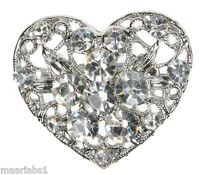 Corazón De Plata Broche Diamante Vintage Zapato Pin Novia Pastel Decoración Nuevo UK