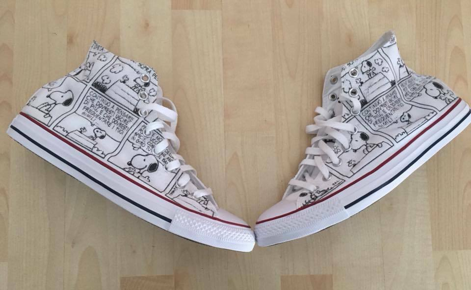 Zapatos Custom  Converse All Star Custom Zapatos Peanuts Snoopy, numero Made in Italy c33724