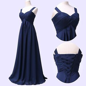 Navy Blue Wedding Dresses ... Long Chiffon Formal Evening Party Wedding Bridesmaid Prom Dress | eBay
