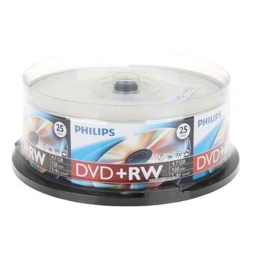 100 PHILIPS 4X DVD+RW DVDRW ReWritable Blank Disc Storage Media 4.7GB Cake Box