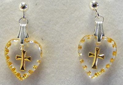 Hand Painted Mini Heart Shaped Cross Crystal Earrings