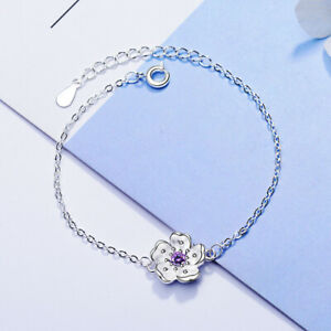 925-Sterling-Silver-Crystal-Cherry-blossoms-Flower-Bracelet-For-Women-Jewellery