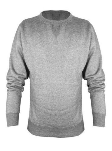 Mens BIG SIZE Plain Round Crew Neck Sweatshirt 2XL-7XL Blk Grey Nvy Fleece Lined