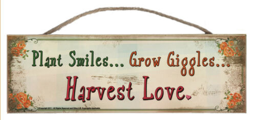 Plant Smiles Grow Giggles Harvest Love Rustic Wall Sign Plaque Gift Ladies Home