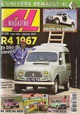 4L MAGAZINE 20 R4 FOURGONNETTE 1967 R4 4X4 SIMPAR RENAULT 4 GTL COURSE 1978