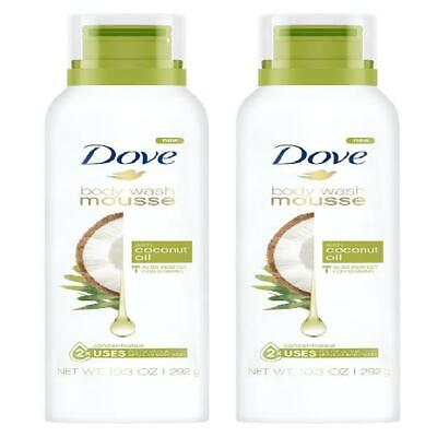 2 Pack Dove Body Wash Mousse With Coconut Oil 10 3 Oz Ebay
