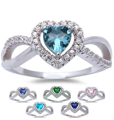Infinity HEART Aqua, Sapphire, Blue-Pink topaz, Emerald & Tanzanite Silver Ring