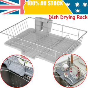 Dish-Rack-Drainer-Drying-Tray-Cutlery-Holder-Utensil-Caddy-Stainless-Steel