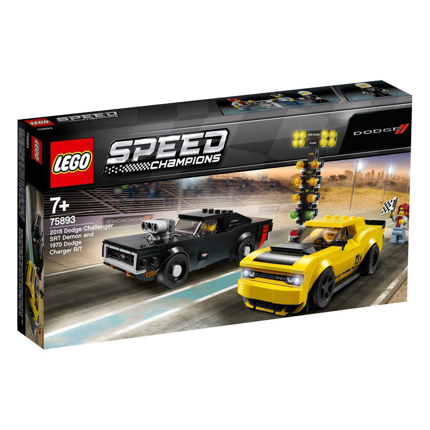 Lego Speed Campioni 75893 Dodge Challenger Srt Demon e 1970 Dodge Charger