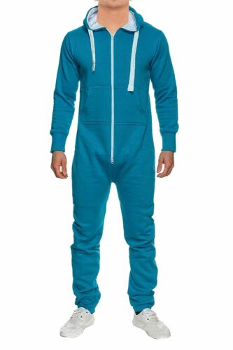 New Mens All In One Piece Hooded Jogging Jumpsuit Tracksuit S-XL