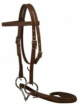 Showman Pony Double Stitched Light Oil Bridle Twisted Wire Snaffle Bit & Reins