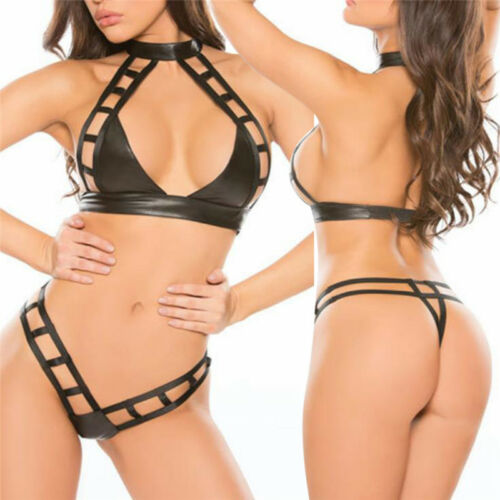 Leather bra push up seamless Patchwork ladies erotic lingerie  Hollow underwea Z